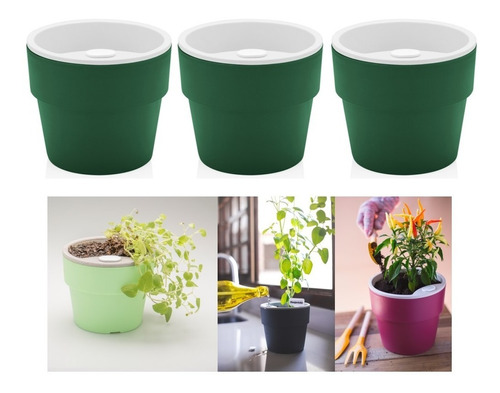 Kit Plantar 3 Vaso Autoirrigável Planta Flor Tempero Jardim