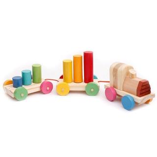 Tren De Madera Encastre Colores Montessori / Waldorf
