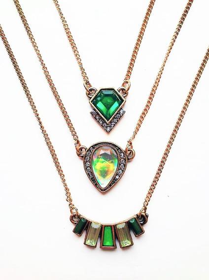 Colar Boho 3 Camadas Étnico Hippie Indiano Luxo Pedra Verde