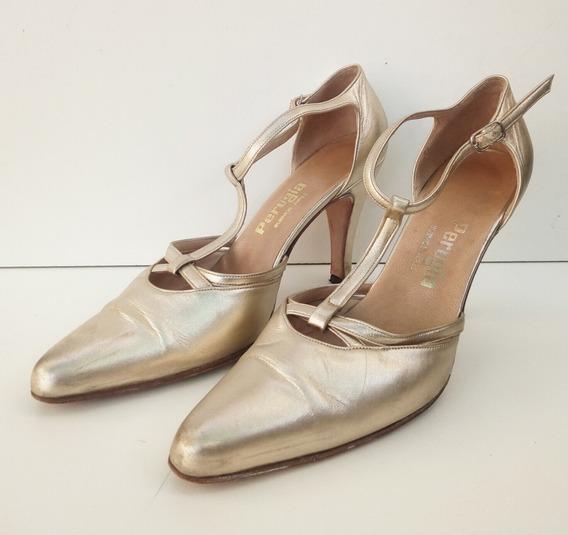 Zapatos Dorados Tango Baile Perugia Cuero 35 Oferta