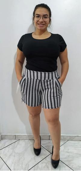 Shorts Plus Size Listrado Cós Alto Moda Primavera/verão