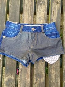 Shorts Jeans E Couro Animale