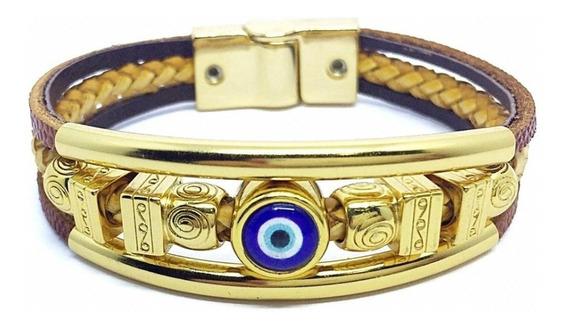 Pulseira De Olho Grego Dourada Delicada Couro Legítimo Pulseiraria Chic