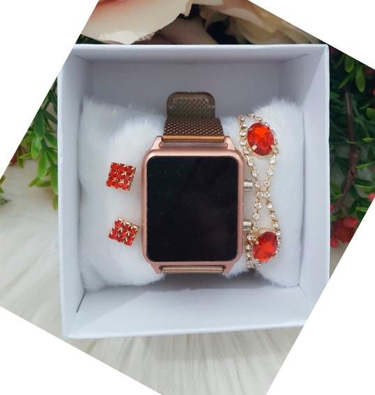 Conjunto Feminino Relógio Pulseira E Brinco Digital Kit 10