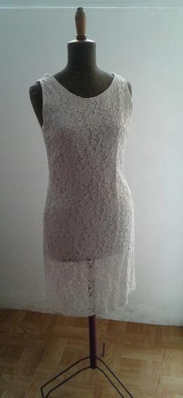 Antiguo Vestido Encaje Color Marfil