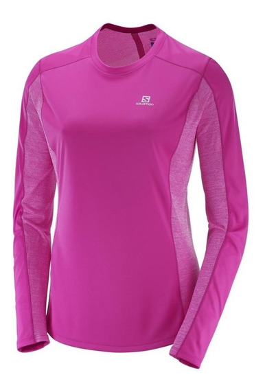 Remera Manga Larga Salomon Mujer -agile Ls- Running S+w