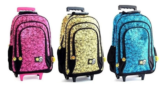 Mochila Smiley Emoticones Con Carro 24 Pulgadas Escolar
