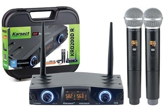 Microfone Duplo Mão Sem Fio Karsect Krd200 Dr Recarregável