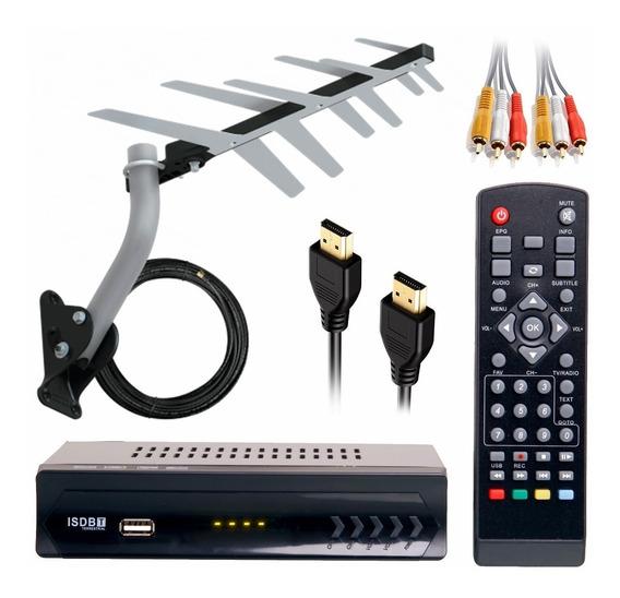 Kit Conversor Receptor Digital Antena Externa Cabo Montado