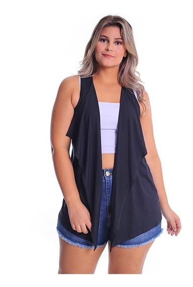 Colete De Bico Plus Size Kimono Alongado Feminino Malha