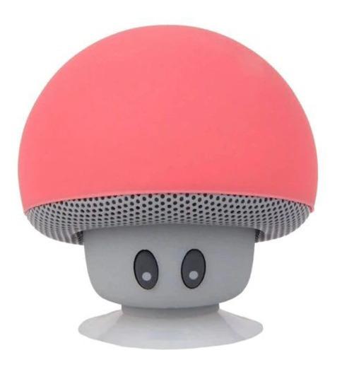 Mini Caixa Som Bluetooth Cogumelo Amplificador Vermelho