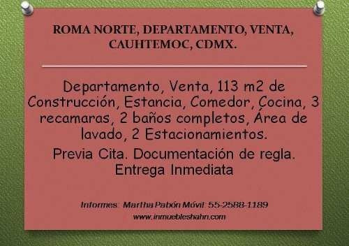 Roma Norte, Departamento, Venta, Cuauhtemoc, Cdmx.