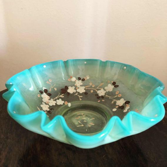 Antigo Bowl Fruteirinha Opalina Francesa Com Urânio Uralina