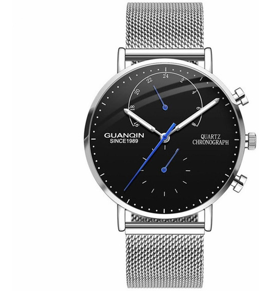 Guanqin Homens Quartzo Relógio Pulso Luminoso Banda Aço Aço
