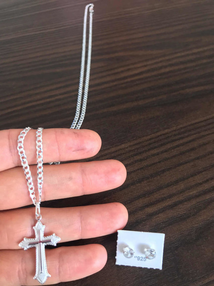 Corrente 3mm + Crucifixo Prata 925 Italiana Garantia Eterna