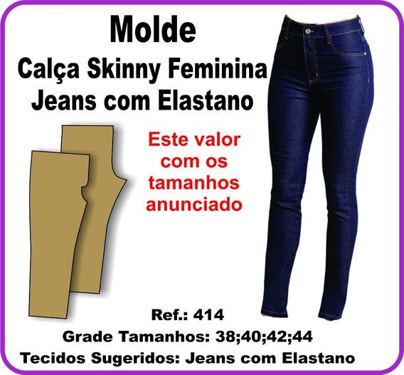 Molde De Calça Skinny Feminina - Jeans Com Elastano 414