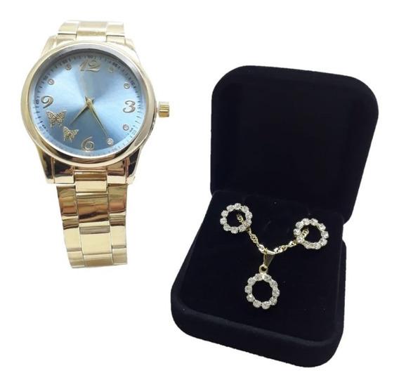 Kit Relógio Dourado Feminino + Brincos E Colar + Caixa Amor