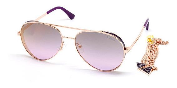 Oculos De Sol Guess Gu7607 28x Rose Corrente Original
