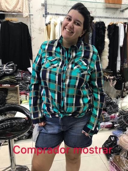 Camisa Xadrez Plus Size Com Bolso Feminina Viscose Importado