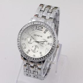 Kit 2 Relógios Feminino Geneva Luxury C/ Strass Frete Grátis