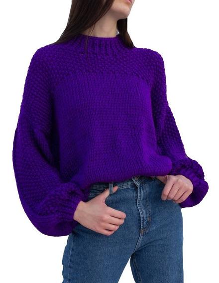 Sweater Mora Violeta Mujer Tejido A Mano