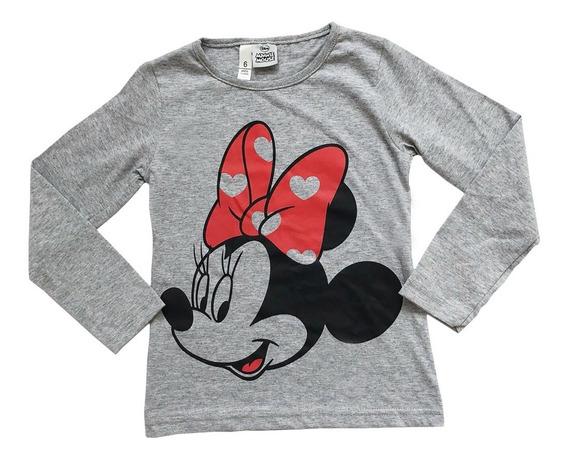 Remera Manga Larga Nena Minnie Mouse, Original Disney