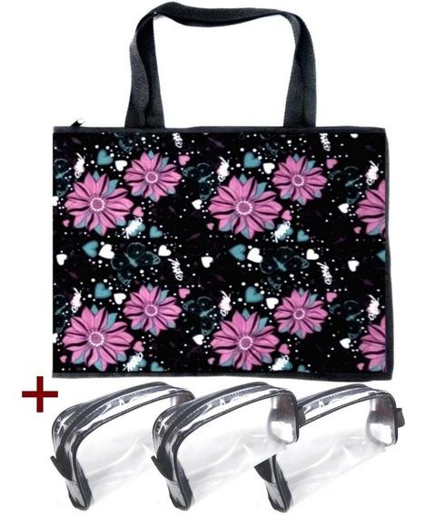 Bolsa Pasta Organizadora Porta Esmaltes Maquiagem Manicure Maquiadora 120 Frascos Flores + 3 Necessaire Transparente