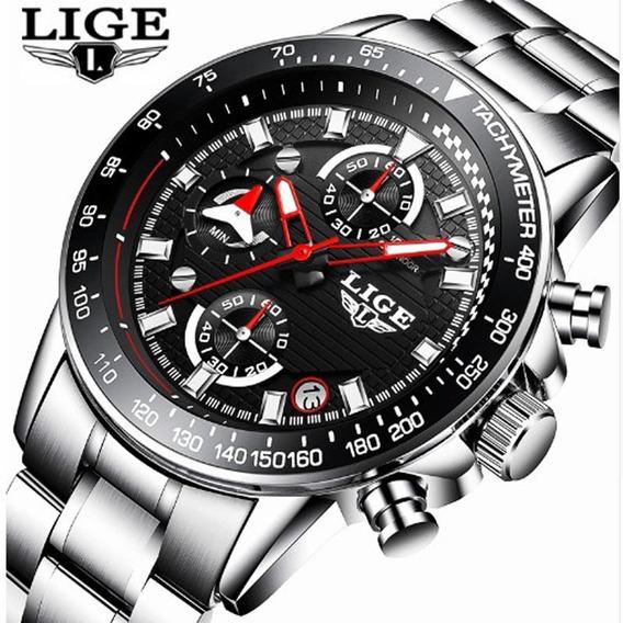 Relógio Lige Masculino De Luxo Quartzo Em Aço Inoxidável