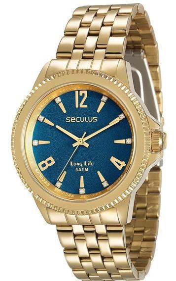 Relógio Seculus Feminino Ref: 28664lpsvda3 Casual Dourado