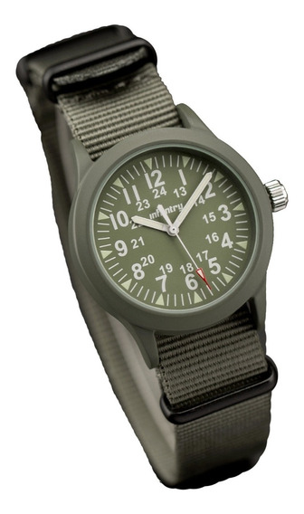 Relógio Militar Infantry Analógico Quartzo Nato Strap Verde