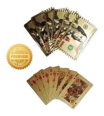 Baralho Dourado 24k Poker Truco Cartas Jogos Pronta Entrega