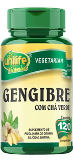 Gengibre Com Chá Verde 120 Comprimidos Unilife Vitamins