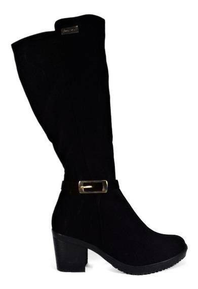Botas Botines Zapatos Mujer Tacon 5/2 Negro Nobuck