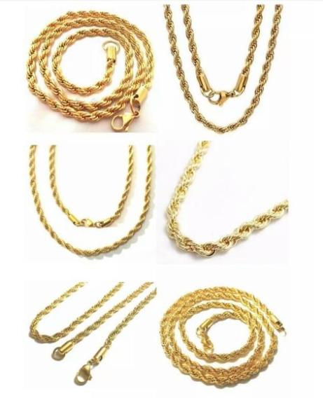2 Correntes Trançadas Masculinas/femininas Aço Inox Dourado