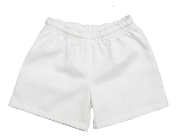 Short Colegial/deportivo Blanco Talle 2 Al 16 Niños