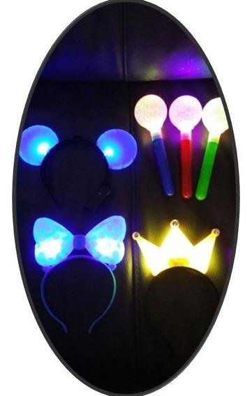 50 Articulos Luminosos Luz Led Mimi Lente Corona Microfono