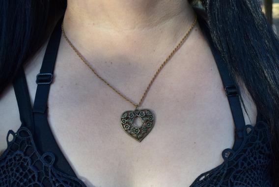 Colar Coração Floral - Frete Grátis - Ler Descrição
