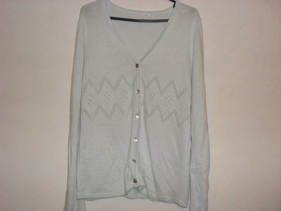Sweater Saquito Largo Celeste Cardigan Vintage 90s De Mujer