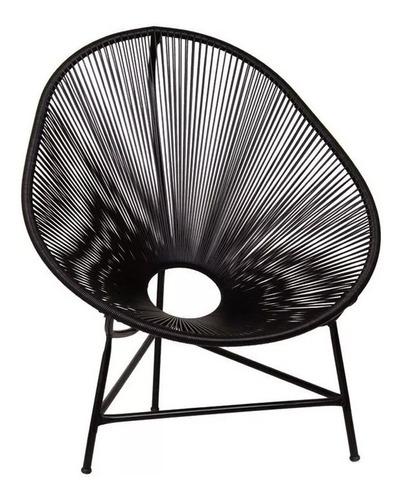 Cadeira Acapulco Poltrona Fibra Sintética - Preta