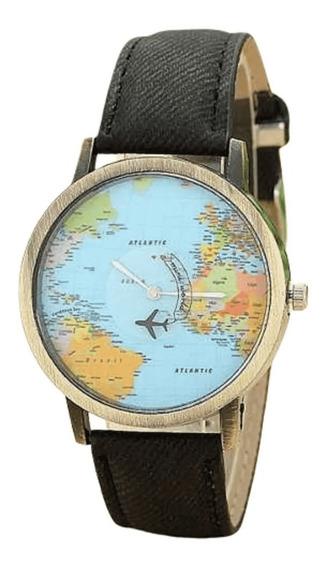 Relogio Mapa Mundo Pulso Travel Moda Aviaozinho Vintage