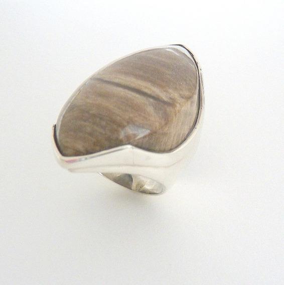 Anel De Prata 925 Com Pedra Madeira Petrificada 5012