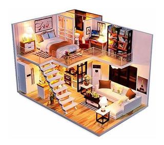 Kit De Muebles De Madera Para Casa De Muñecas En Miniatura H