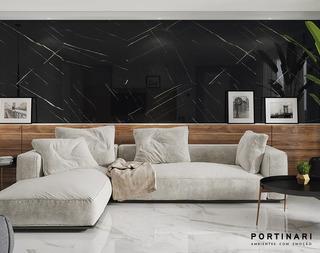 Porcelanato Portinari Negro Pulido Lumina Marquina 60x120