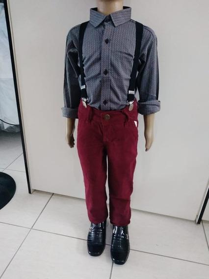 Camisa Slim Fit Infantil Social + Calça Vinho Slim Jeans Top