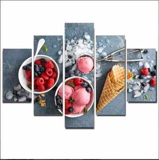 Quadro Painel Mosaico Decorativo 5 Partes Sorvete Red Fruit