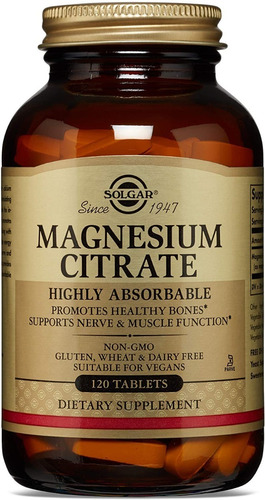 Citrato De Magnesio  Solgar 120 Tabletas / Envio Gratuito