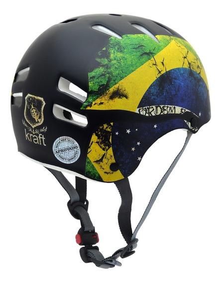 Capacete Kraft Bike Brasil P Skate Patins Roller - Nbr16175