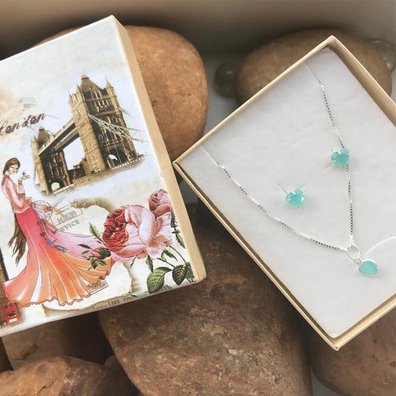 Cordao Feminino Prata 925 Pingente E Brincos Azul Tiffany