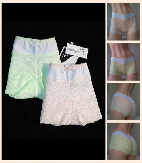 Set De 2 Panty Tipo Bóxer Dama Encaje Algodón Tallas S M L