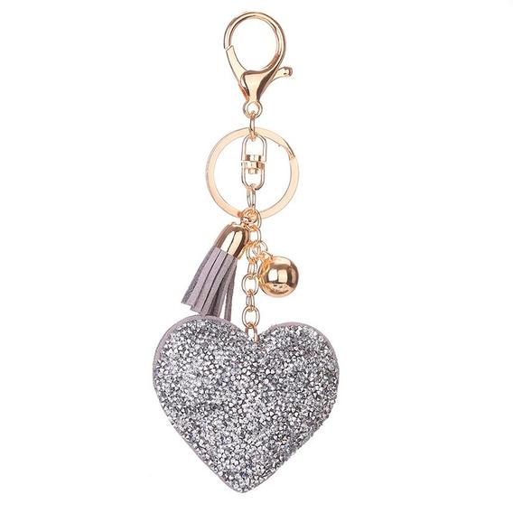 Imitação De Diamante Coração Chaveiro Couro Borla Keychain M